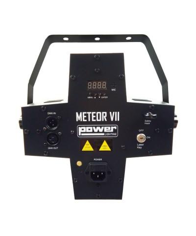 Jeux de lumière 3-en-1 : Beam Moonflower, Strobe, Laser multipoints Rouge et Vert Power Lighting METEOR VII