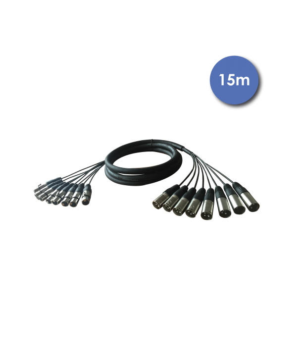 Octopaires 15m 8X XLR 3 PIN Mâle - XLR 3 PIN Femelle POWER ACOUSTICS CAB 2223