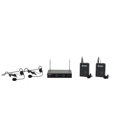 GEMINI VHF-02HL Système sans fil double avec micros sere tête et lavalier VHF - Bande 1 et 3