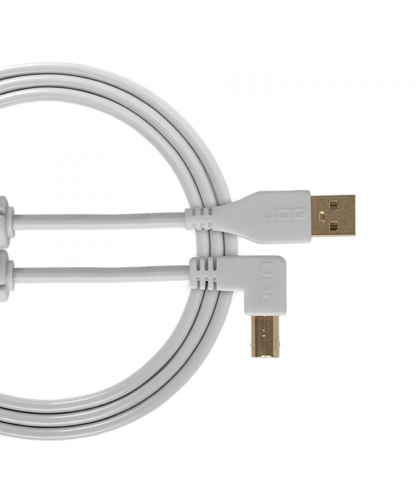 Câble USB 2.0 A-B UDG blanc coudé 1M