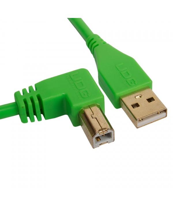 Cable udg usb 2.0 A-B vert coudé 1m Udg U 95004 GR