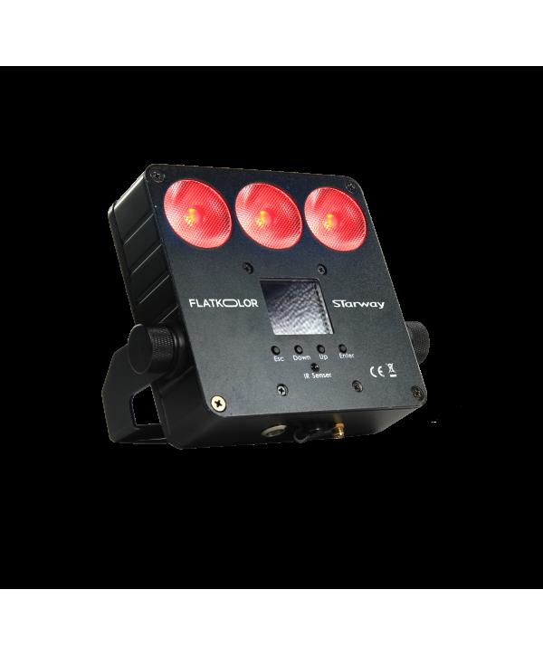 STARWAY FlatKolor Projecteur sur batterie 3 Leds de 12W RGBWA+UV