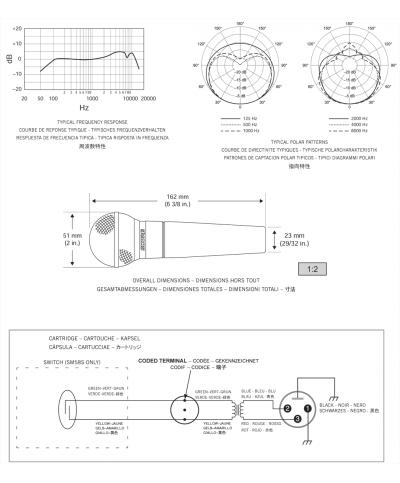 Micro Fil Shure SM58 LCE avec pince pochette