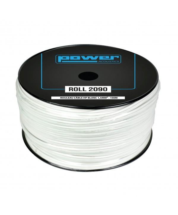 Rouleau Câble HP Blanc 1,5mm² 100m POWER ACOUSTICS ROLL 2090