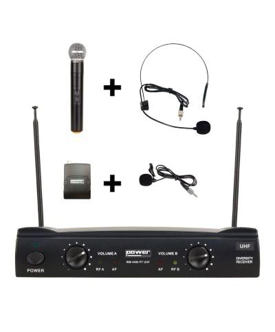 Double micro main serre-tête cravate UHF Fréq. 640-647.3 MHz POWER ACOUSTICS WM 4400 PT UHF GR8