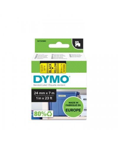Dymo Ruban D1 24 mm x 7 m noir sur jaune   53718 Accessoires Étiqueteuse