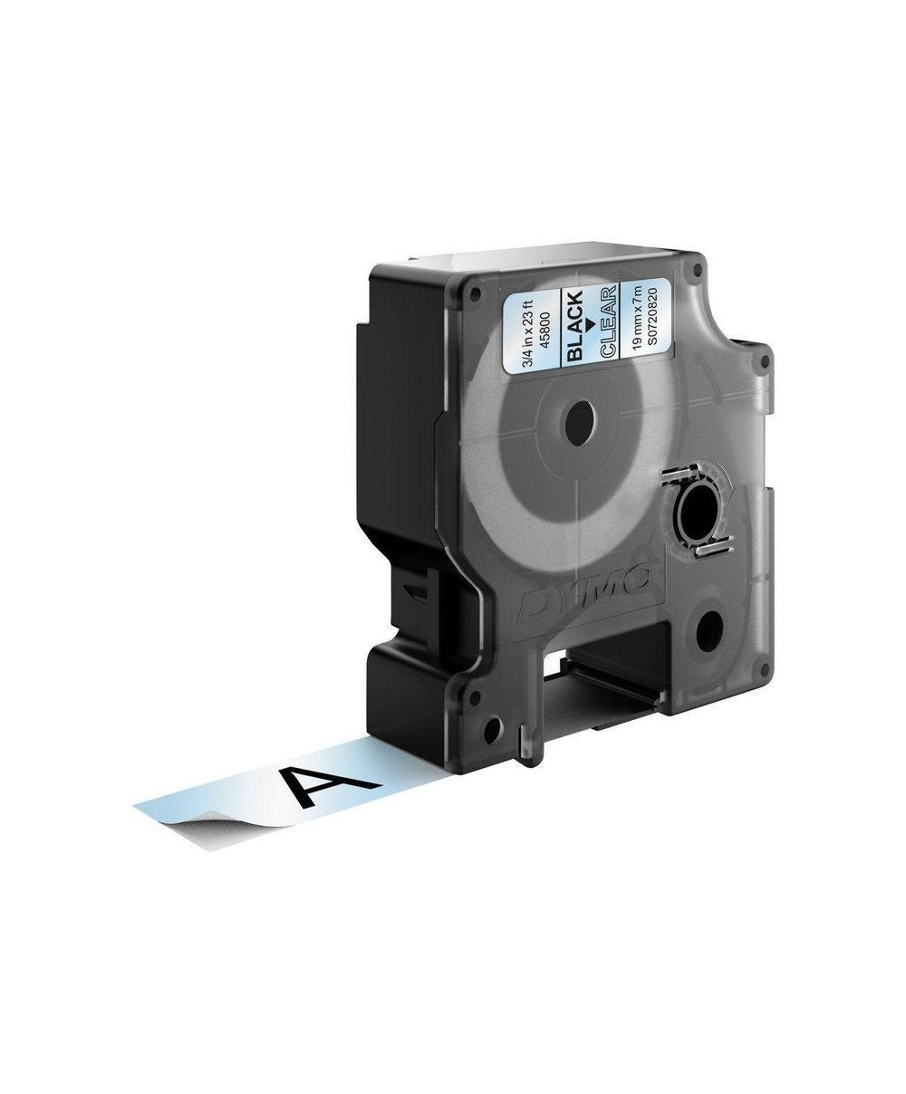 Dymo D1 Ruban   19 mm x 7 m noir sur transparent 45800 Accessoires Étiqueteuse