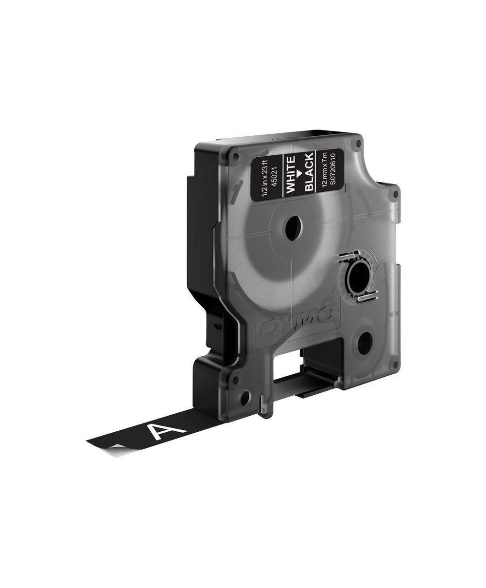 Dymo D1 Ruban   12 mm x 7 m blanc sur noir 45021 Accessoires Étiqueteuse