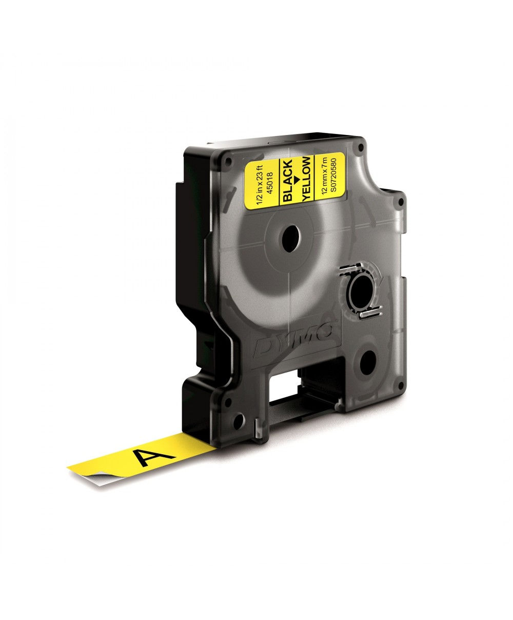 Dymo D1 Ruban   12 mm x 7 m noir sur jaune 45018 Accessoires Étiqueteuse