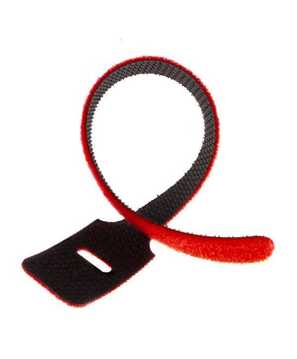 Attache de câble en Velcro dos à dos 22cm Rouge