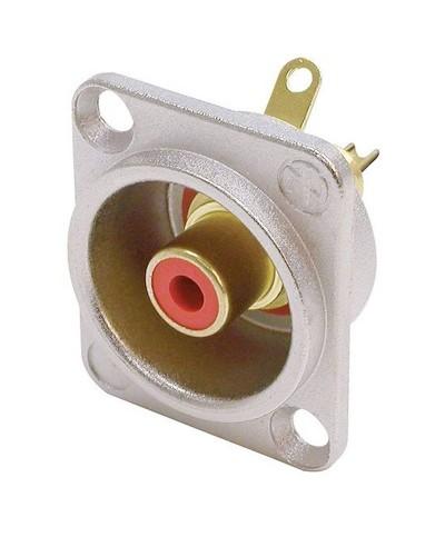 Fiche Châssis Alu RCA Femelle Neutrik anneau Rouge NF2D2 à souder