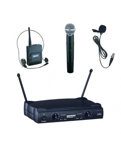 Double Micro Main Serre Tête Cravate VHF - Freq 183,5-186,5 Mhz Power Acoustics WM 4000 PT GR3