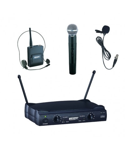 Double Micro Main Serre Tête Cravate VHF Freq 178,5-183,5 Mhz Power Acoustics WM 4000 PT GR2